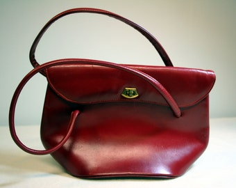Red vintage purse-R Appel New York-mid century carnelian vinyl bag-brass closure-oxblood