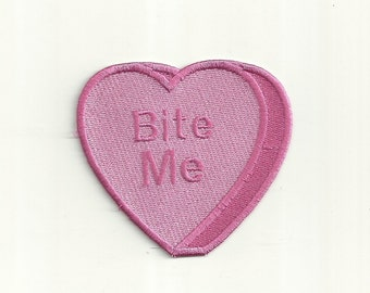 Bite Me! Anti-Conversation Heart Patch. Any Color! Custom Made! F20