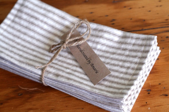 Tan french ticking cloth napkins,  large size dinner napkins, reusable summer picnic napkins, ticking stripe napkins, cotton stripe napkins