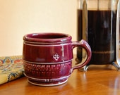 Plum red ceramic mug, chattering detail, glossy wheel-thrown pottery, handmade stoneware