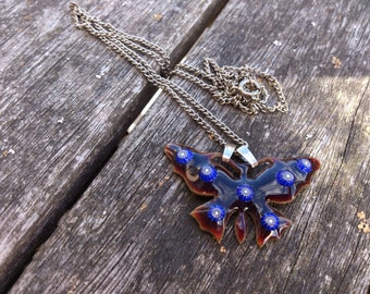 Vintage blue enamel butterfly necklace