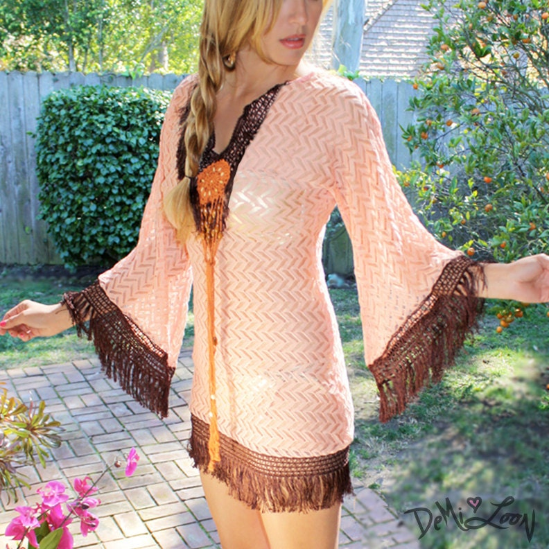 peach fringed lace navajo dress crochet boho by shopdemiloon. Black Bedroom Furniture Sets. Home Design Ideas