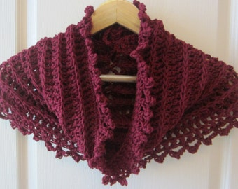 Crochet Pattern Cowl Hood Poncho Twisted Cowl Infinity Scarf
