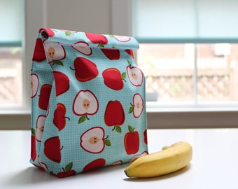 Reusable Fabric Lunch Bag, Velcro Closure - Various designs