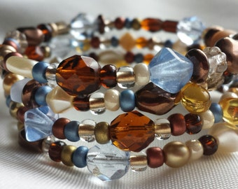 Browns and Blues Czech Bead  Memory Wire Bracelet
