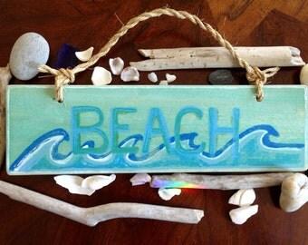 Beach Time Original Wood Sign Mixed Media