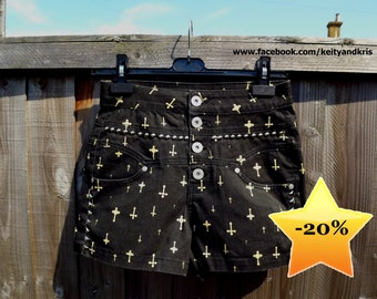Black Cross High Waisted studded shorts