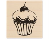"Cupcake Wooden Rubber Stamp - 1 3/4"" x 1 3/4"""