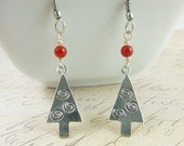 Christmas Tree Earrings, Red Coral & Silver Trees, Gift Ideas, Under 20, Chakra Energy Jewelry