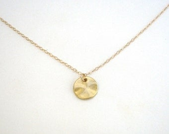 Small Gold Disc Necklace, Gold Circle Necklace, Matte Disc Necklace, Textured Circle, Gold or Silver, 14K Gold Fill or Sterling Silver Chain
