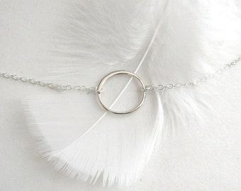 Silver Circle Necklace, Sterling Silver Halo Necklace, Sterling Silver Eternity Necklace - Sterling Silver Chain