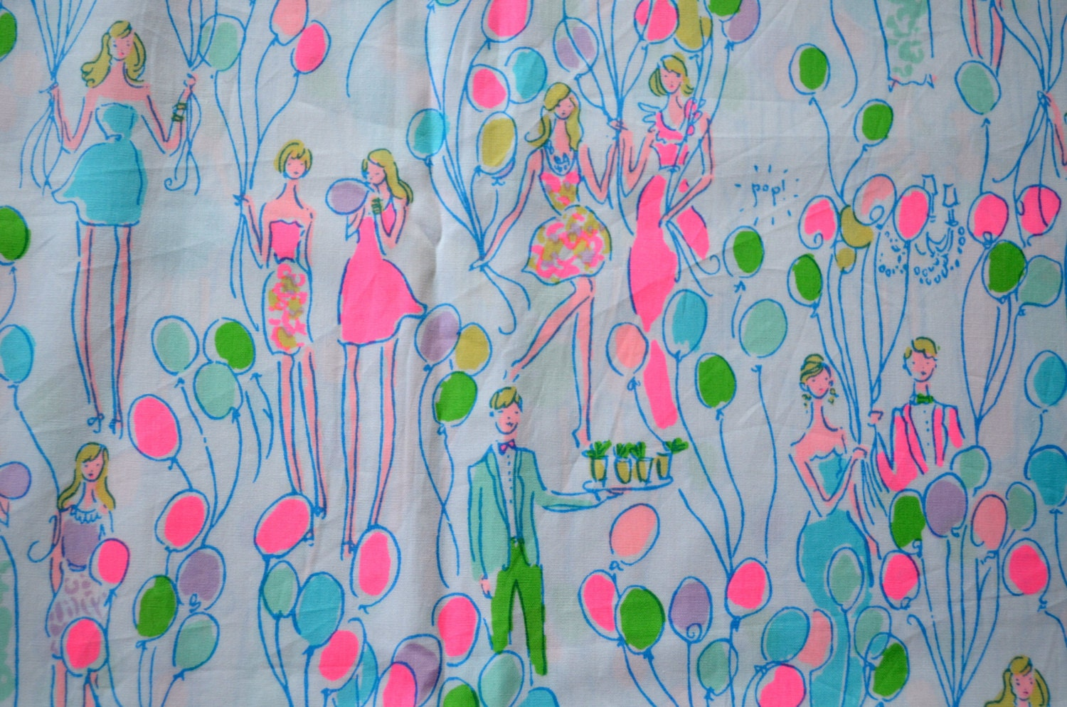 Lilly Pulitzer Fabric 3 Square Patches Of Lilly Pulitzer Fabric Pop Balloons Party