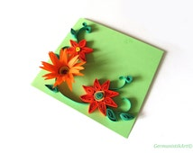 Orange Spring Flower Card, Quilling Blank Birthday Greeting Card, Thank you Card
