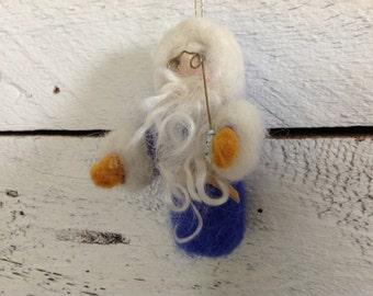 Needle Felted Santa Ornament