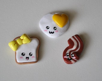 Cute Polymer Clay Breakfast Magnets (Set of 3)