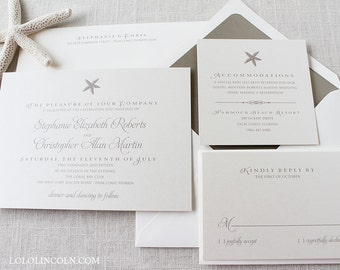 Starfish Wedding Invitation, DEPOSIT to get started