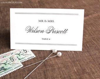 Preppy Monogram Wedding Place Cards, SAMPLE
