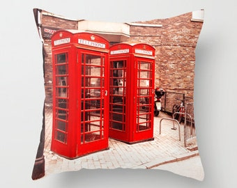 British Phone Box Throw Pillow, red and cream, British, Vintage Style, Home Decor, Pillow Case