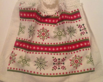 Red Nordic Striped Crocheted Top Towel  (C5)