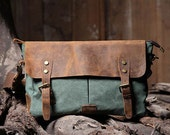 Handmade Leather Canvas Bag   Canvas Messenger Bag   Student Canvas Bag   Leisure Canvas Bags - HandmadeLeatherJenny