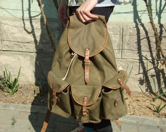 Green camping canvas-leather backpack