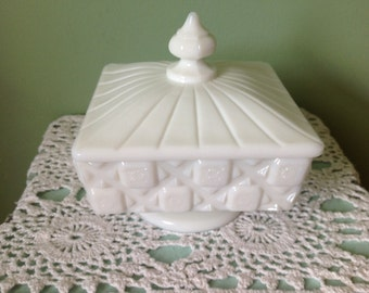 West Moreland White Milk Glass Compote/Candy Dish