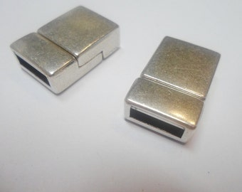 SALE:  10 Magnetic Clasps, 10mm Flat Leather Finding Zamak,