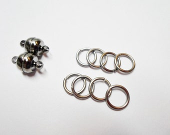 Antique Silver Super Strong Magnetic Clasp with 8 Iron Jumprings,