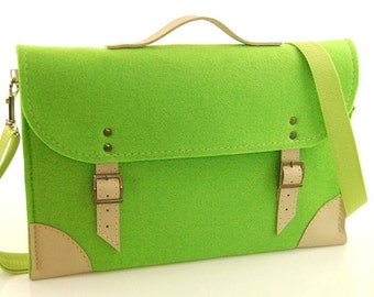 Felt Laptop bag 15 inch with pocket, Macbook Pro 15 in, Custom size Laptop bag, sleeve, case, with leather straps