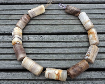Matte Wood Opalite/ Petrified Wood 17-22mm triangular prism beads (ETB00399)