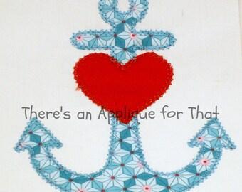 Heart Anchor Applique Design