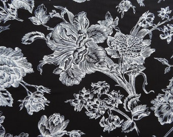 Beautiful toile with black background and white flowers