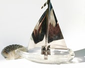 Vintage Glass Ashtray Sailboat with Chrome Sail Seaside Inspired Nautical Decor - northandsouthshabby