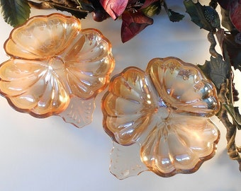 Peach Luster Glass Pansy Candy Dishes