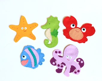 Felt finger puppets set - Animals from the ocean - pack of 5
