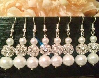 set of 8 bridesmaid pearl earrings,bridal pearl earrings,bridesmaid gifts, gift,tear drop pearl earrings,sale,affordable bridesmaid gift