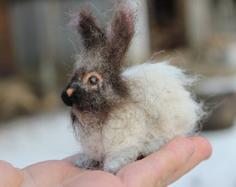 Needle felted   Bunny, Bunny  Miniature soft sculpture