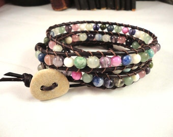 MULTI GEMSTONE LEATHER Wrap Bracelet with Beach Stone Button 4x