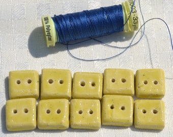 5 Pieces Handmade Ceramic Square Buttons in Soft Yellow