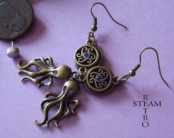 10% off sale17  Deep Blue Octopus Steampunk earrings - Steampunk Jewelry by Steamretro - personalized jewelry