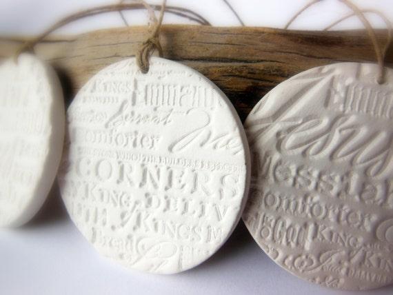 Set of 3 Religious Handmade Ceramic Christmas Ornaments