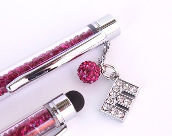 Set of Two Crystal Ballpoint Pen Filled With Swarovski Crystal Elements with Custom Rhinestone Initial and Matching Mini Stylus.