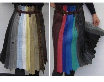 """Recycling FASHION: LEATHER ties skirt """"80s - PoTpOUrRi"""". Unique OOAK. Recycling / upcycling of ties. EverythingTIE by ideenreich-berlin.de"""