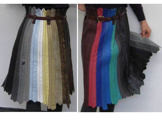 recycling fashion leather ties skirt 80s. Black Bedroom Furniture Sets. Home Design Ideas