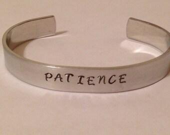 Patience. Custom hand stamp bracelet cuff