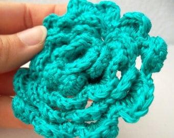 Aqua Crochet Flower Pin, Teal Knit Hair Decor, Aquamarine Brooch, Turquoise Hat Accessory, Cyan Knit Rose, Winter Brooch in Sky Blue