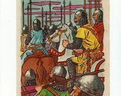 Vintage poster about knights of the Middle Ages from Spain