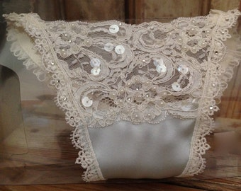 Lace Bridal Thong Panties Something Blue Ivory Bride Thong Hand Beaded Lace Pearls Sequins Wedding Panties
