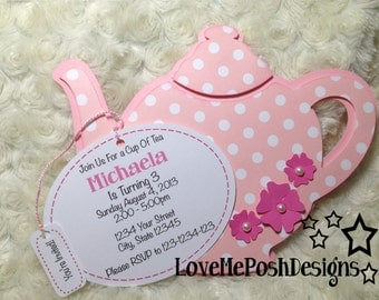Teapot Invites 10 pieces Birthday Invites/Invitations