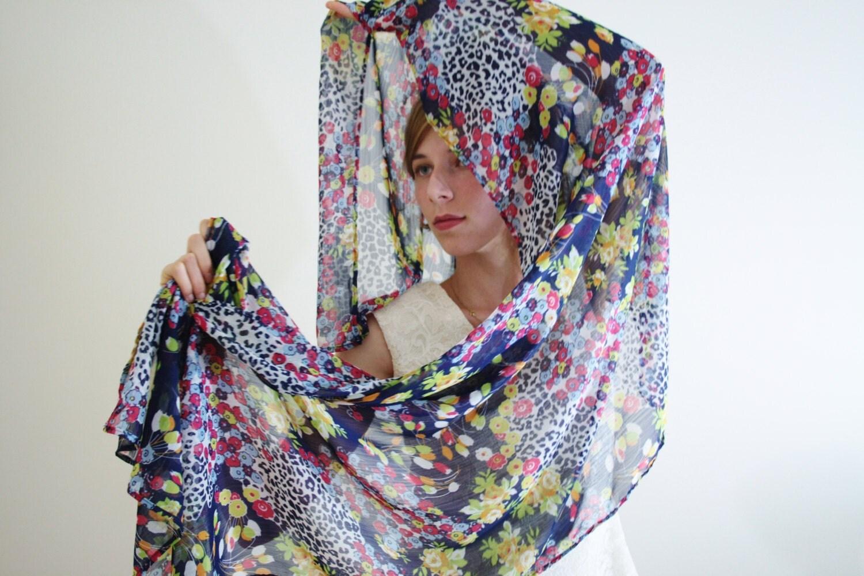 blue scarf blue parisian scarf sheer blue by